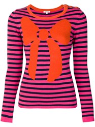 Manoush Striped Bow Jumper Pink And Purple