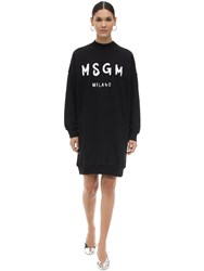Msgm Logo Print Cotton Sweatshirt Dress Black