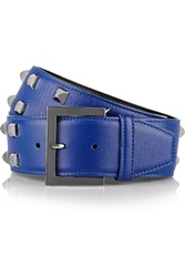 Oscar De La Renta Studded Leather Belt Blue
