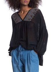 Plenty By Tracy Reese Sheer Peasant Top Black