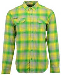 Columbia Men's Oregon Ducks Long Sleeve Flannel Button Up Shirt Green Plaid