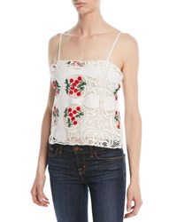 Brock Collection Talia Antique Lace Top White Red