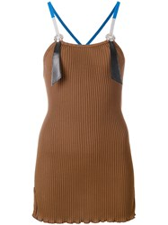 Toga Pulla Ribbed Tank Top Cotton Polyester Artificial Leather Brown