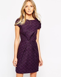Liquorish Jacquard Envelope Dress Purple