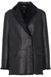 Joseph Ringo Double Breasted Shearling Coat Midnight Blue