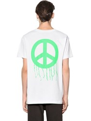 Les Artists Dripping Peace Cotton Jersey T Shirt