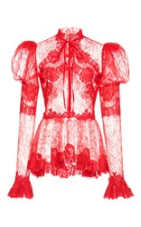 Zuhair Murad Lace Flare Cuff Top Red