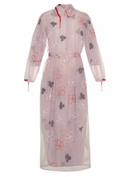 Simone Rocha Spooky Flower Embroidered Long Sleeved Dress Light Purple