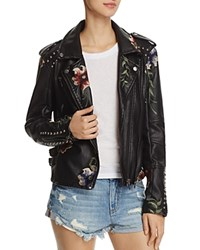 Blank Nyc Blanknyc Floral Embroidered Studded Faux Leather Moto Jacket As You Wish