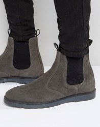 Asos Chelsea Boots With Thick Sole In Grey Suede Grey
