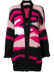 Valentino Ribbed Knit Patterned Cardigan Pink And Purple