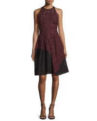 J. Mendel Colorblock Lace Halter Dress Vin Noir