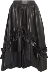 Cedric Charlier Asymmetric Ruffle Trimmed Faux Leather Skirt Black
