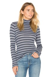 Stateside Stripe Thermal Turtleneck Sweater Gray
