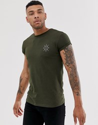 Bershka Muscle Fit T Shirt In Khaki With Chest Print Green