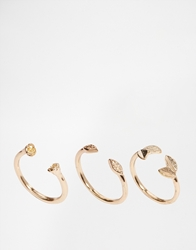 Asos Open Leaf And Rose Ring Pack Gold