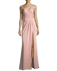 Faviana Off The Shoulder Column Faille Satin Evening Gown Pink