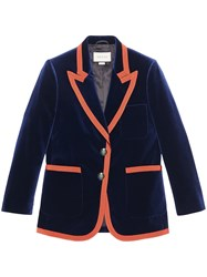 Gucci Web Trim Blazer Women Silk Cotton Spandex Elastane Velvet 40 Blue