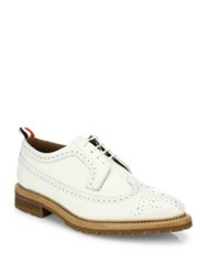Thom Browne Classic Brogue Leather Dress Shoes White