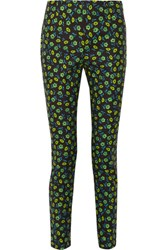 Prada Floral Print Stretch Cotton Skinny Pants Midnight Blue