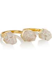 Dara Ettinger Mimi Gold Plated Multi Stone Two Finger Ring Metallic