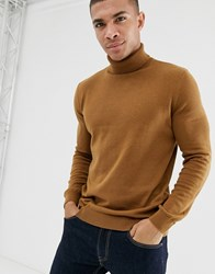 New Look Roll Neck Jumper In Camel Tan