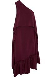 Tibi Asymmetric Ruffled Silk Dress Plum