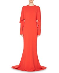 Stella Mccartney Draped Sleeve Cady Gown Red