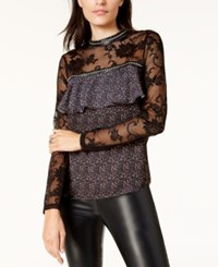 By Glamorous Lace Sleeve Blouse Created For Macy's Black Orange