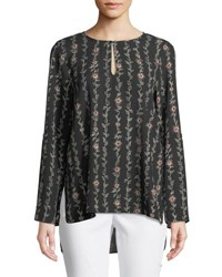 Cynthia Steffe Floral Keyhole Bell Sleeve Blouse Black