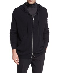 Vince Oversized Boiled Cashmere Hoodie Black