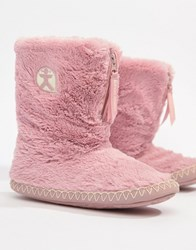 Bedroom Athletics Marylin Faux Fur Slipper Boot In Pink Dusky Pink