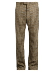 Gucci Checked Straight Leg Wool Trousers Brown Multi