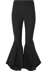 Ellery Sinuous Cropped Ruffled Crepe De Chine Flared Pants Black