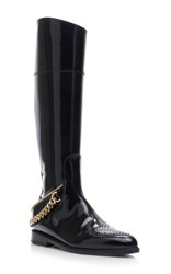 Lanvin Riding Soft Brushed Calfskin Boots With Chain Detail Black