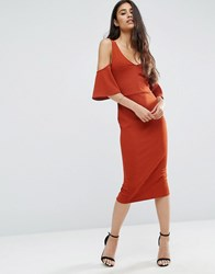 Asos Crepe Cold Shoulder Fluted Sleeve Midi Dress Rust Red