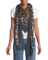 Zadig And Voltaire Delta Framed Leopard Square Scarf Teal