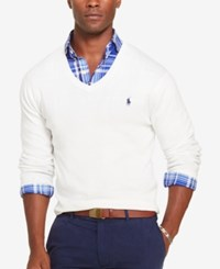 Polo Ralph Lauren Men's Slim Fit V Neck Sweater White