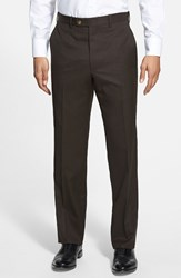 Men's Big And Tall Jb Britches Flat Front Worsted Wool Trousers Dark Brown