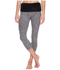 Beyond Yoga Fold Down Capri Leggings Black White Space Dye Women's Casual Pants Gray