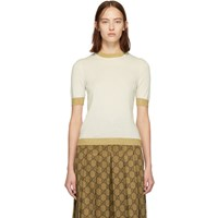 Gucci Off White And Gold Cashmere Sweater