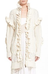 Women's Stella Mccartney Cable Knit Ruffle Cotton Cardigan