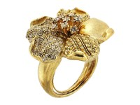 Oscar De La Renta Pave And Dotted Petal Ring Gold Ring