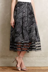 Anthropologie Nightblossom Midi Skirt Black Motif