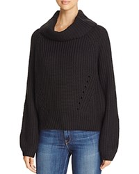 Elan Cropped Cowl Neck Sweater Black