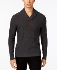 Inc International Concepts Men's Mesh Diamond Cable Knit Sweater Only At Macy's Onyx Heather