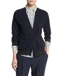 Brunello Cucinelli Bicolor Double Breasted Cashmere Cardigan Navy