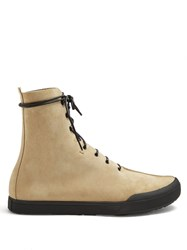 Loewe Lace Up Suede Ankle Boots Tan