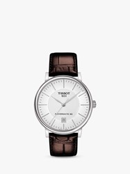 Tissot T1224071603100 'S Carson Powermatic 80 Date Leather Strap Watch Brown White
