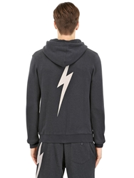 Lightning Bolt Hooded Cotton Blend Sweatshirt Black Off White